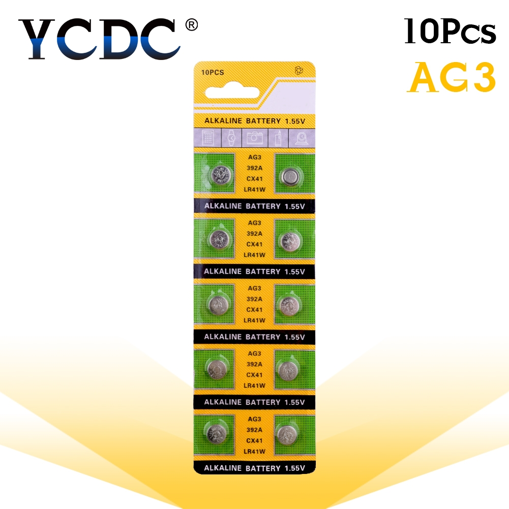 YCDC 10pcs 1.55V AG3 LR41 392 Button Batteries SR41 192 L736 384 SR41SW CX41 Cell Coin Alkaline Battery For Watch Toys Remote(China)