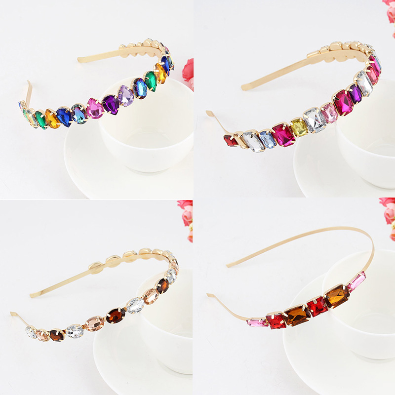 Baroque Gem Crystal Headband For Women Metal Hairband Square Rhinestone Hair Hoop Retro Prom Party Hairbands Hair Accessories