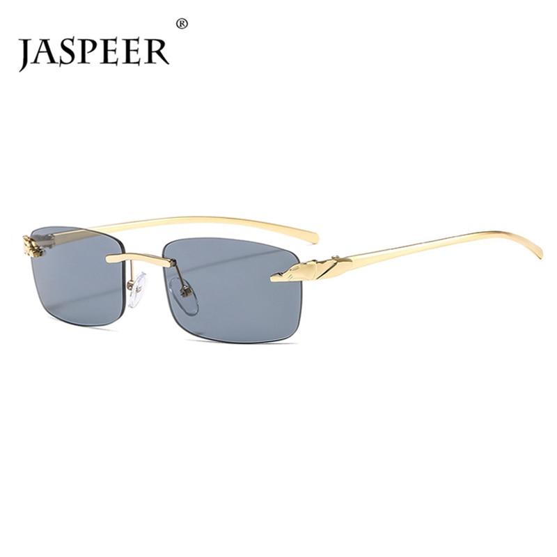 Jasper 2020 moda dikdörtgen güneş kadınlar çerçevesiz küçük Lens güneş gözlüğü klasik alaşım Metal güneş gözlüğü erkekler UV400