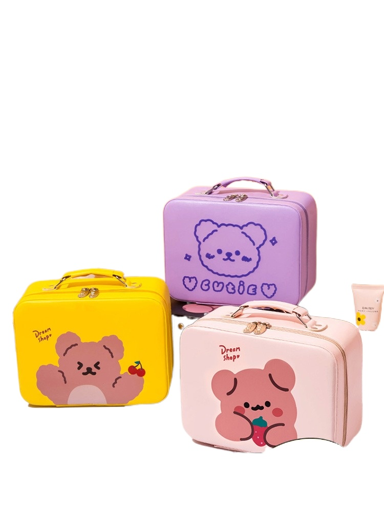 Cosmetic Bag Women's Portable Large Capacity Cute Travel Storage Box Suitcase Toiletries