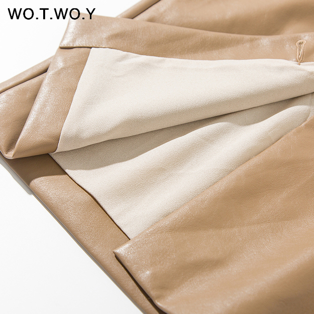 WOTWOY Elengant High Waist Leather Penci Skirt Women Multi Button Wrapped Skirts Mujer Faldas Solid Pockets Femme Jupes New 2020 4