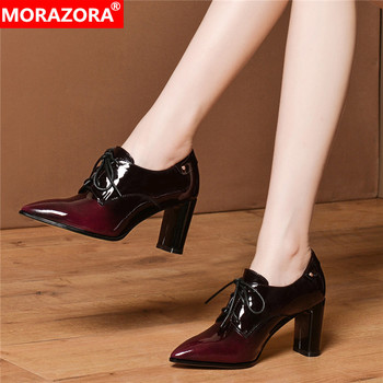 MORAZORA 2020 large size 33-43 genuine leather women pumps fashion lace up pointed toe women shoes thick high heels spring shoes