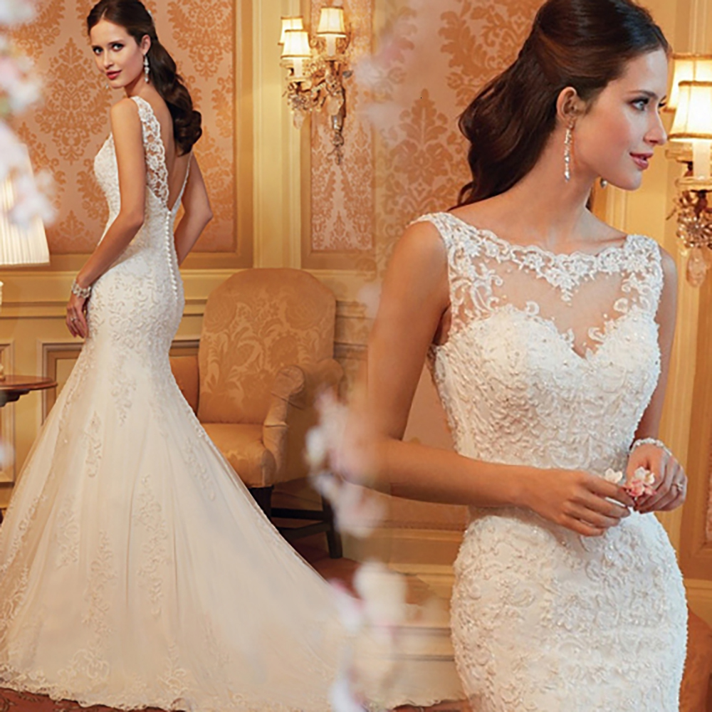 Best Selling Plus Size White Wedding Dresses Mermaid Lace Wedding Bride Weeding Dress Floor Length Gowns Cheap-wedding-dress