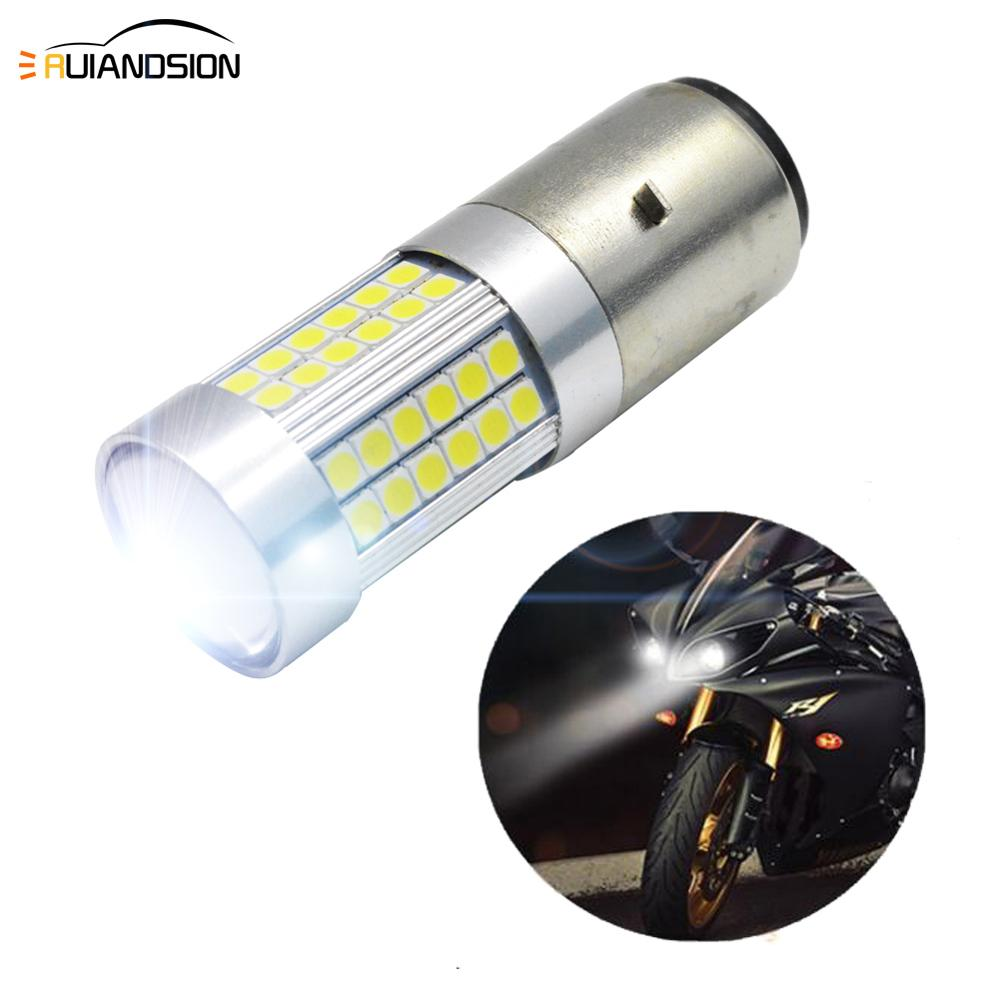 1pc 6V 12V H6 BA20D Led Motorcycle Headlight Bulbs 3030 66SMD Led 1200LM High Low Lamp Fog Lights Scooter ATV Moto Accessories image