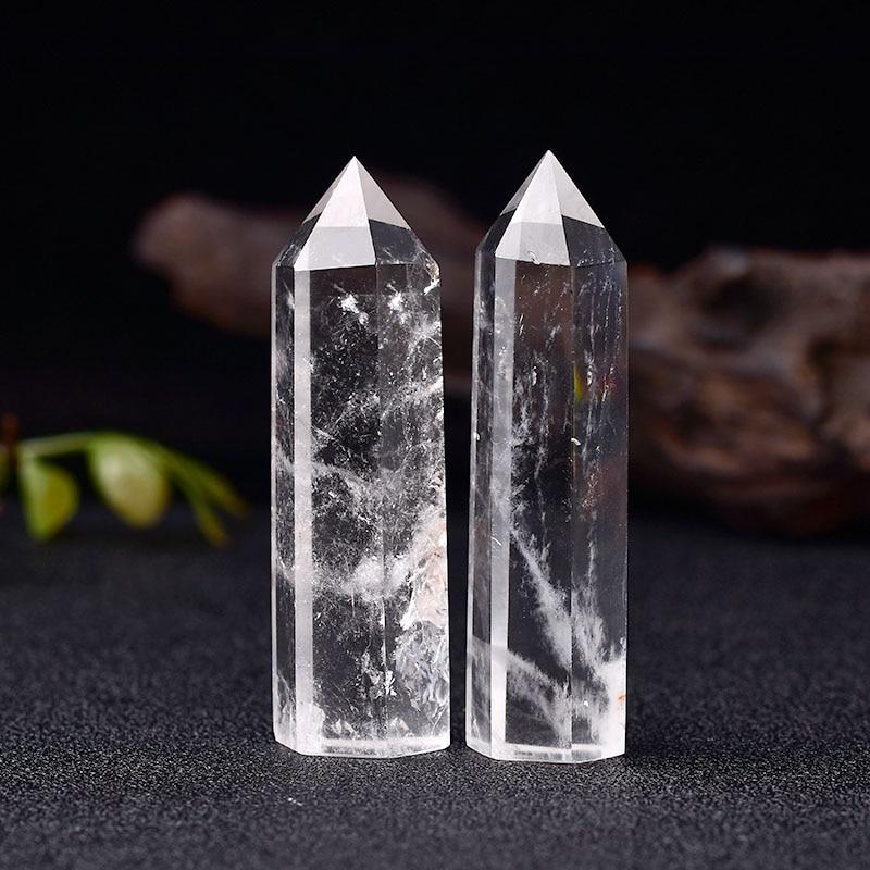 Натуральный кристально чистый кварцевый прозрачный кварцевый точечный заживляющий камень Шестигранная Призма 50-80 мм обелисковая палочка ...
