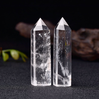 Natural Crystal Clear Quartz Transparency Point Healing Stone Hexagonal Prisms 50-80mm Obelisk Wand Home Decor 1PC - discount item  30% OFF Home Decor