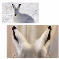 New Lepus arcticus Black White Rabbit Ears Hairhoop Tail Headwear Beast Cosplay Costume Accessories Handmade Work