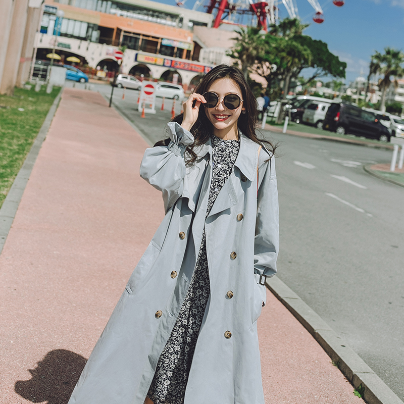 2019Autumn winter new coat   trench   coat oversize long   trench   casual women's long coat Korean two-color   trench   coat duster Coats