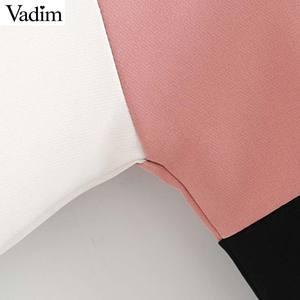 Image 4 - Vadim женские шикарные Лоскутные толстовки с капюшоном с длинным рукавом с завязками свободные пуловеры Женская верхняя одежда повседневные топы HA491