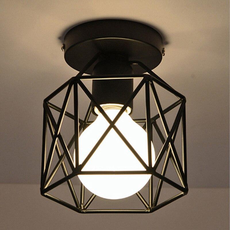 Industrial Ceiling Lamp Shade Fixture For Hallway Entrance Aisle Porch Square Diamond Iron Chandelier Pendant Light