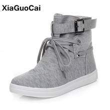 2019 Spring Autumn Woman Boots Flat High Top Casual Shoes Female Canvas Shoes Lace Up Leisure Ladies Ankle Boot Fashion Big Size autumn 2018 girls tall knee high top casual sneakers children fashion lace up mid calf boot trainer shoes toddler little big kid