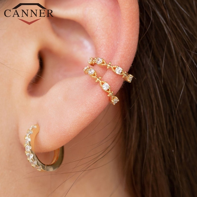 1 pair of 925 Sterling Silver Snowflake Ear Cuff Without Piercing Clip Earrings for Women Crystal Zircon Clip on Earrings 3