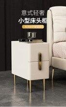 European Style Rock Board Bedside Cabinet Modern Minimalist Free Installation Storage Cabinet Bedroom Mini Bedside Cabinet