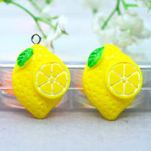 Résine Flatback citron fruits Cabochons maison de poupée fruits Miniatures bijoux à bricoler soi-même artisanat faisant des fournitures décorations en épingle à cheveux