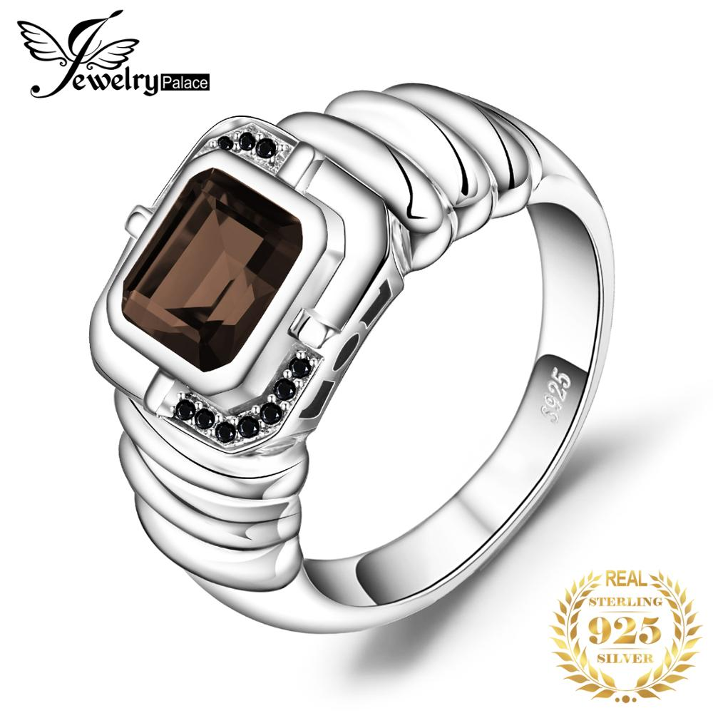 Jewelrypalace Men's Natural Smoky Quartz Black Spinel Anniversary Wedding Ring 925 Sterling Silver