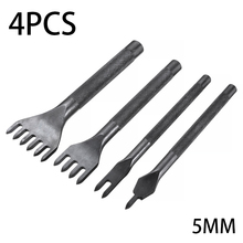alloy steel punching pin chisel rivet screw mark hole woodworking carving tool set multi size percussion punch set 4pcs Steel Stitching Punch 3/4/5mm DIY Leather Punch Tool Set 1/2/4/6 Prong Leather Hole Punching Chisel For Leathercraft Making