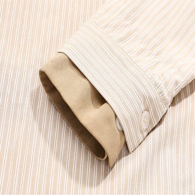 women's shirt 2020 New Lapel Striped Big Size Fashion Tide Spring Autumn Women Khaki Blouse  Long Sleeve Loose Fit Shirt 5