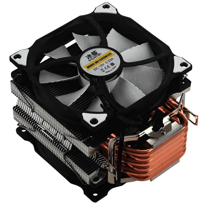 Снеговик M-T6 4PIN процессор Cooler Master 6 Heatpipe двойные вентиляторы 12 см вентилятор охлаждения LGA775 1151 115X 1366 Поддержка AMD