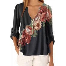 Женская блузка с цветочным принтом рукавом 3/4 сексуальная пляжная