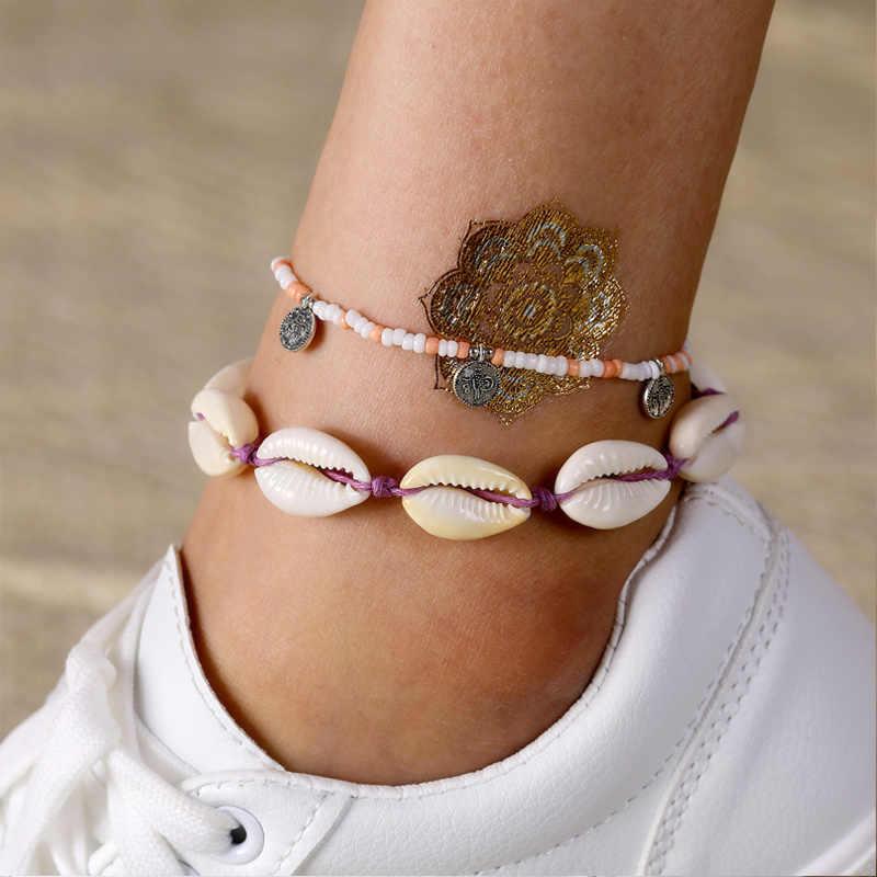 Богемский Браслет с резными монетами браслет на лодыжку ювелирные изделия бусы, сделанные своими руками Набор браслетов для ног лодыжки браслеты для женщин ножная цепочка