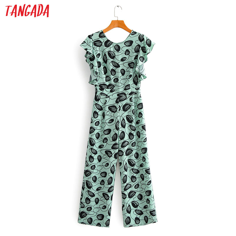 Tangada Women Summer Green Print Long Jumpsuit Zipper Ruffle Sleeve O Neck Female Casual Jumpsuit 1F110