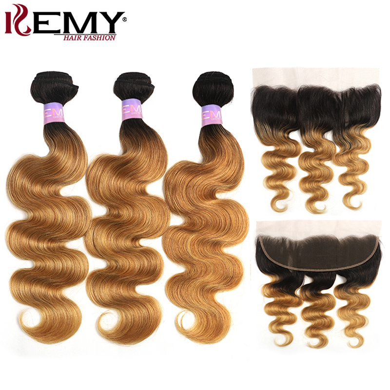 Ombre Blonde Body Wave Bundles With Frontal 13x4 KEMY HAIR Brazilian Hair Bundles With Closure Non-Remy Human Hair Extensions