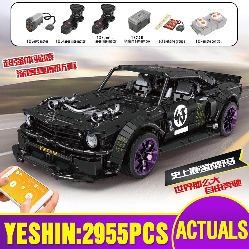 20102 Technic Car Series Compatible With MOC 16915 Mustang Hoonicorn With Motor Function Car Kids Car