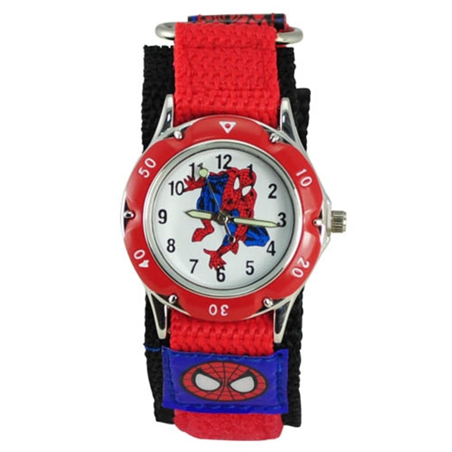 100 Units/lot Mixed Wholesale Hot 3D Cartoon Spiderman Watch For Boys Students Nylon Straps Sports Clock Wristwatch Relogio DHL