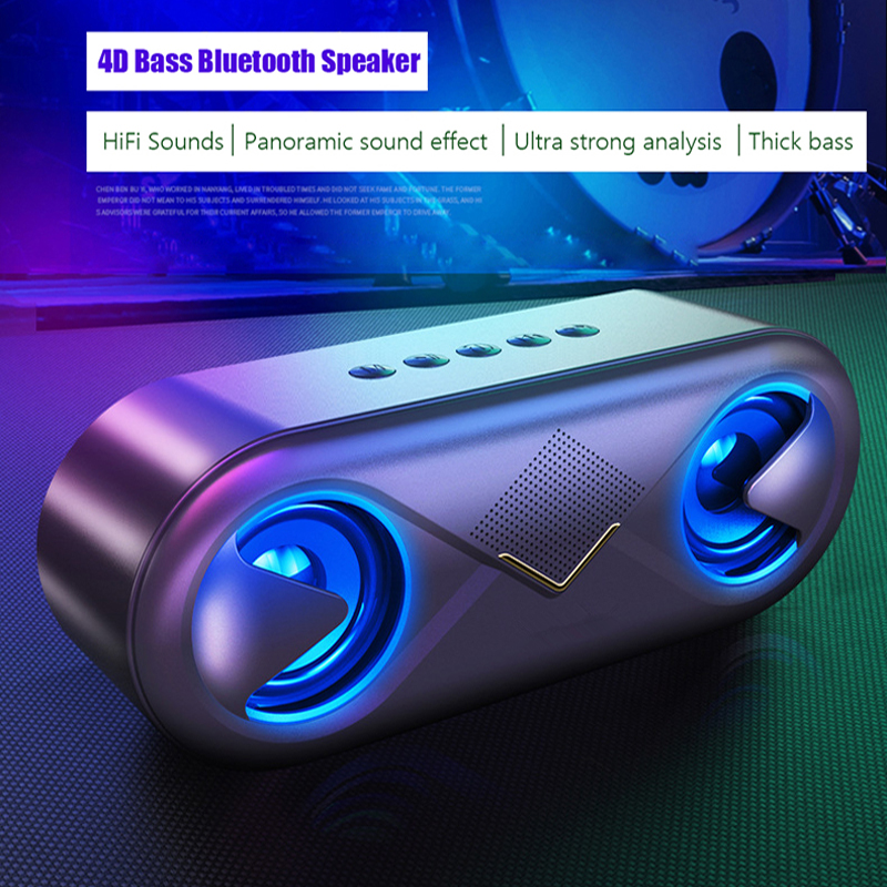 Portable Wireless <font><b>Bluetooth</b></font> <font><b>Speaker</b></font> LED Boom Outdoor Bass Column Subwoofer Sound Box with Mic Support TF Card AUX USB <font><b>Speakers</b></font> image