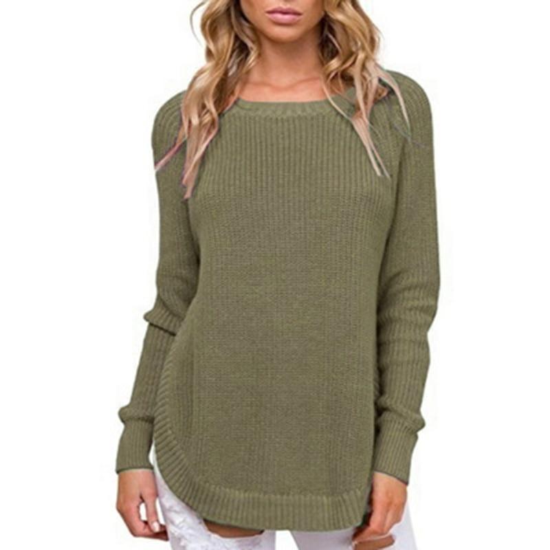 Свитер с разрезом по бокам; Вязаный джемпер с круглым вырезом; Повседневный пуловер; Однотонная верхняя одежда; Свитер размера плюс|Водолазки|   | АлиЭкспресс