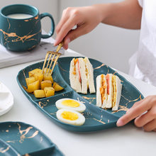 Lace gold Japanese ceramic dim sum fruit breakfast dish water cup family meal coffee milk flatware set