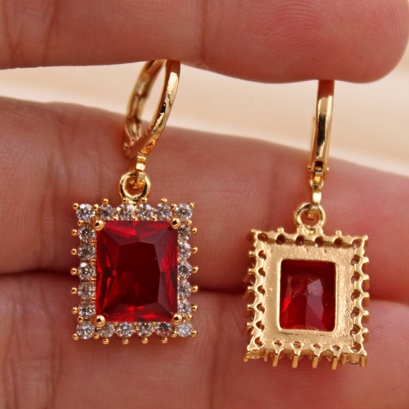 H6a56a3537d4d47729a878f6de01660669 - Trendy Vintage Drop Earrings For Women Gold Filled  Red Green Pink Lavender Zircon Earrings Gold  Earring Wedding  Jewelry
