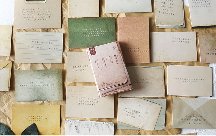 57mm*87mm Vintage Words Paper Greeting Card Lomo Card(1pack=27pieces)