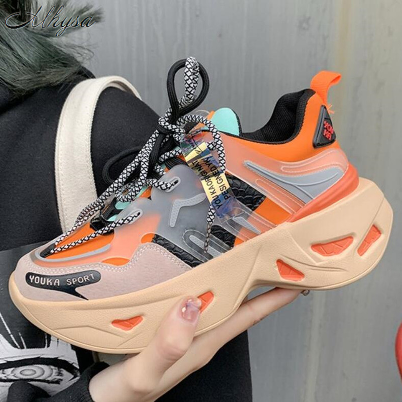 2020 Spring Women Shoes New Chunky Sneakers For Women Vulcanize Shoes Casual Fashion Dad Shoes Platform SneakersTenis Feminino