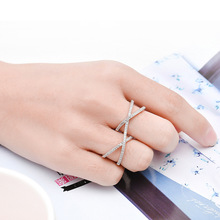 NJ Silver Exaggerated Cross Stone Crystal Ring For Women Lovely Finger Rings 2019 New Fashion Lady Jewelry