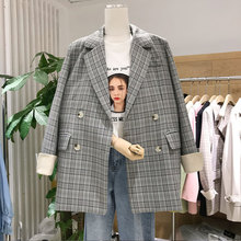 2019 Fall Suit New Women Plaid Small Suit Coat Women Double Breasted Plaid Button Women Jackets and Coats Suit