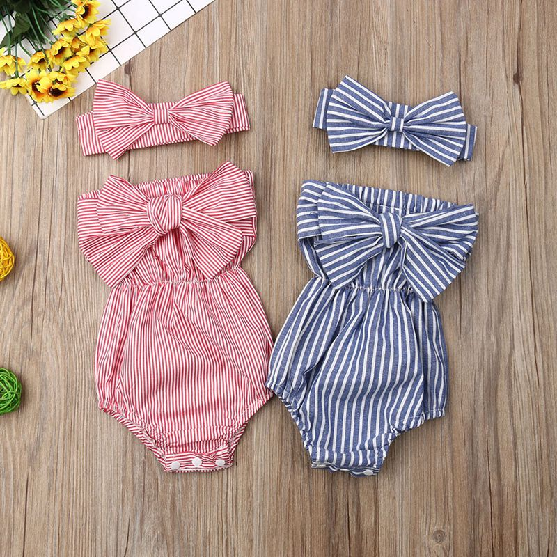Baby Girls Backless Design Jumpsuit Sleeveless Striped Print Bodysuit Outfits