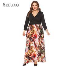 цена на Seluxu Autumn Plus Size Women Dress Floral Print Patchwork Dress Sexy V-Neck Long Dress Long Sleeve Elegant Large Size Dress