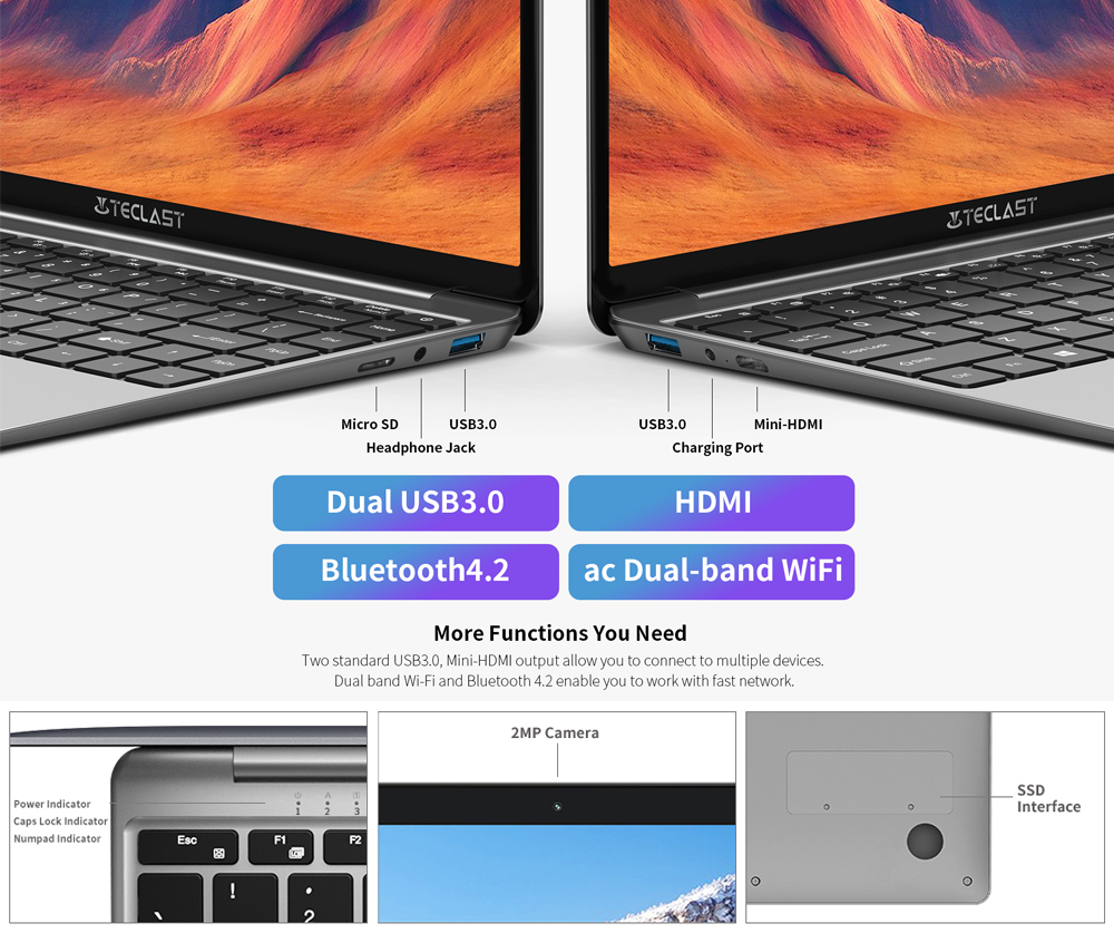 Laptops Teclast F7S 14.1 Inch Notebook 8GB RAM 128GB eMMC Windows 10 OS Dual-band WiFi Bluetooth