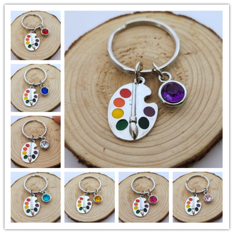 1pcs Painters Tools-Palette & Brush Keychain Christmas Stone Jewelry Pendant Key Chain Ring DIY Fit Keychain