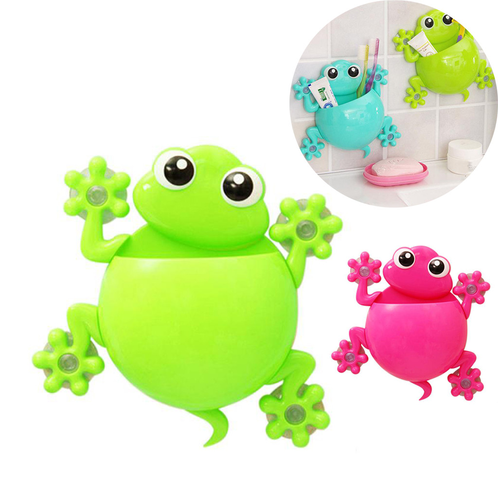 Frogs Cute Cartoon Home Bathroom Toothbrush Holder Wall Mount Suction Cup Toothpaste Storage Rack Toothbrush Rack Children
