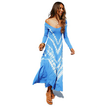 Sexy Women Long Dress with A Large Position Sleeve Temperament Holiday Party Blue Ladies New