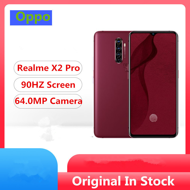 """Original Realme X2 Pro Red Mobile Phone 6.5"""" 90HZ Super Amoled 12GB RAM 256GB ROM 64.0MP 50W Fast Charger Snapdragon 855 Plus