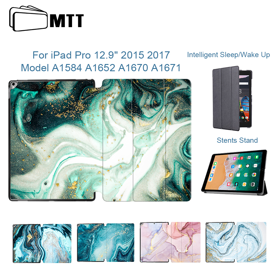MTT Marble Case Cover For IPad Pro 12.9'' 2015 2017 Version PU Leather Flip Stand Cover Protective Tablet Case Auto Sleep/Wake