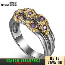 DreamCarnival 1989 Neo-Gothic Rings for Women Wedding Band Golden Flowers with Purple Zircon Fashion Jewlery Wholesale WA11638(China)