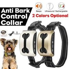 Ошейник для собак против лай водонепроницаемый интеллектуальный ультразвуковой устройство против лая электрическая остановка лай ошейники для дрессировки собак