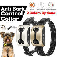 Pet Dog Anti Bark Collar Waterproof Intelligent Ultrasonic Anti Barking Device Electric Stop Barking Dog Training Collars