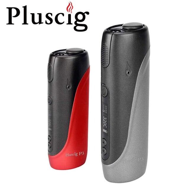 Electronic Cigarette Pluscig P3 Heat Vape Box Kits 2150mAh 30 Smoke Metal Body LED Screen Operation Automatic cleaning A+++