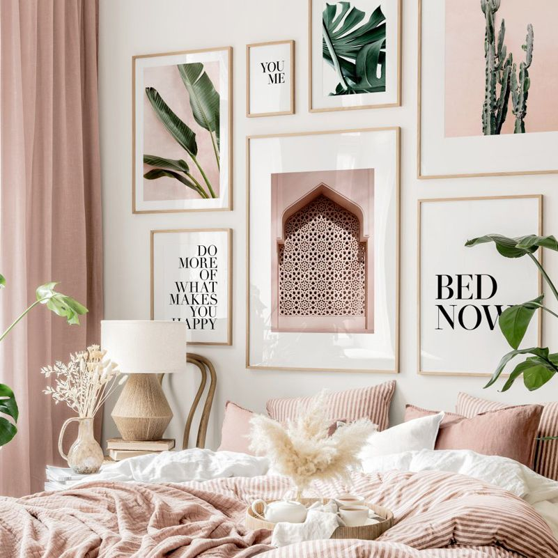 Green Plant Monstera Morocco Pink Wall Cactus Quote Wall Art Print Canvas Painting Nordic Posters Decor Pictures For Living Room