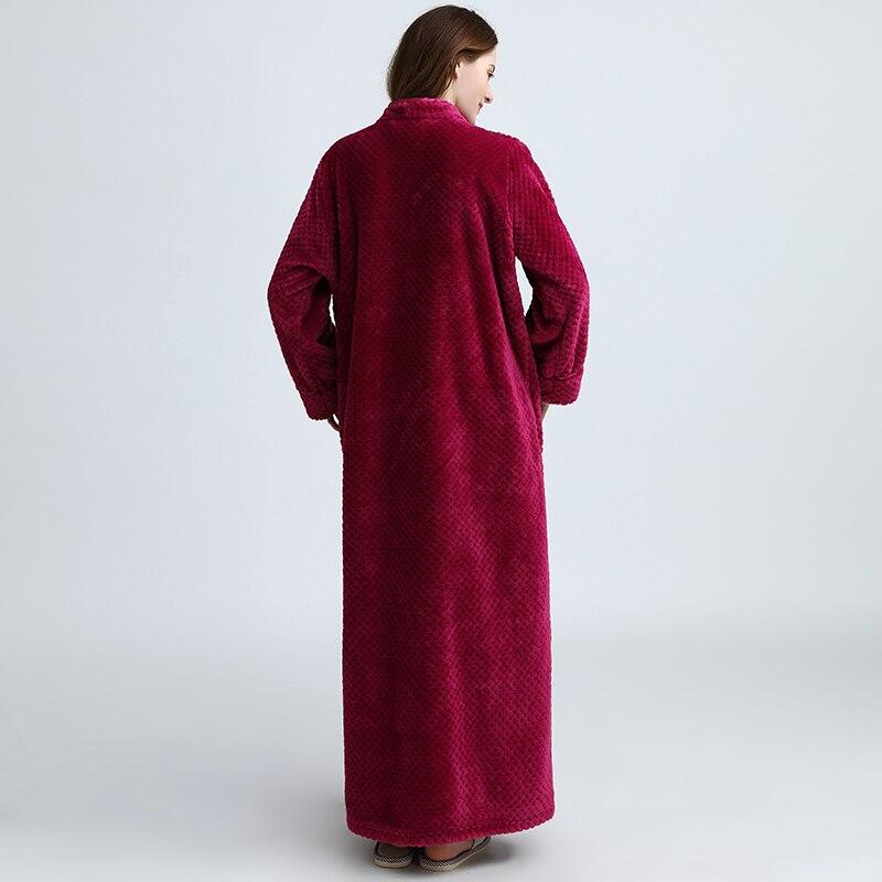 Image 4 - Women Extra Long Plus Size Thick Warm Sleepshirts Men Winter Coral Fleece Zipper Nightgowns Pregnant Robe Flannel Night Dress-in Nightgowns & Sleepshirts from Underwear & Sleepwears